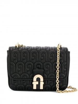 Стеганая сумка на плечо с логотипом Furla. Цвет: черный