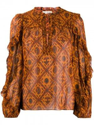 Блузка с длинными рукавами и вышивкой Ulla Johnson. Цвет: оранжевый