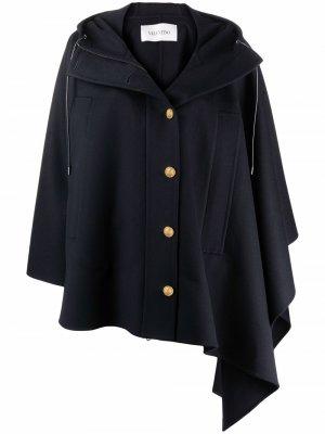 Пальто асимметричного кроя с капюшоном Valentino. Цвет: синий