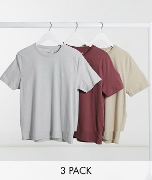 Набор из трех футболок (красная/серая/золотистая) с логотипом -Многоцветный Abercrombie & Fitch