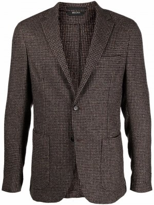 Single-breasted fine-checked blazer Z Zegna. Цвет: коричневый
