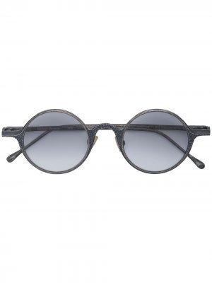 Серебряные солнцезащитные очки в круглой оправе Rigards. Цвет: серый