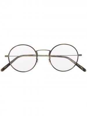Очки Ellerby в круглой оправе Oliver Peoples. Цвет: коричневый