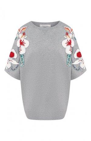 Хлопковый пуловер Valentino. Цвет: серый