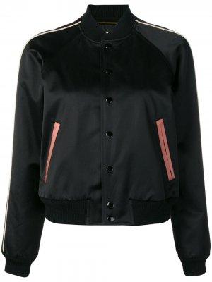 Куртка-бомбер с логотипом Saint Laurent. Цвет: черный