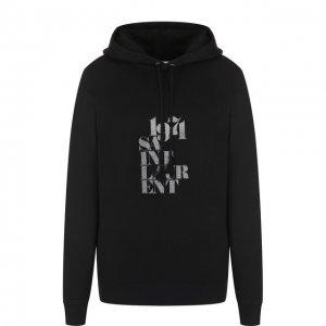 Хлопковый пуловер с капюшоном и логотипом бренда Saint Laurent. Цвет: чёрный