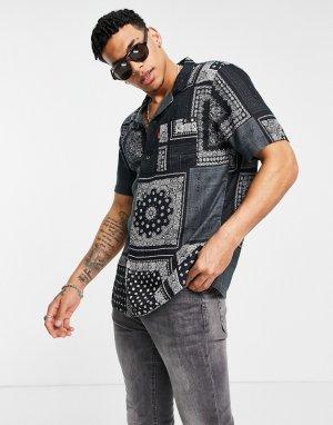 Черная рубашка с короткими рукавами и сплошным принтом в стиле банданы Levis-Черный цвет Levi's