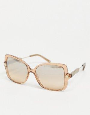 Oversized солнцезащитные очки в квадратной коричневой оправе 0VE4390-Коричневый Versace