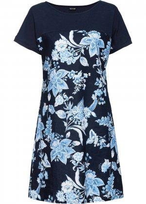 Платье с принтом bonprix. Цвет: синий