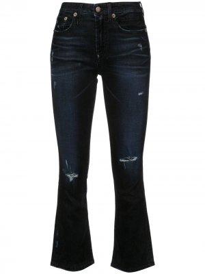 Расклешенные джинсы скинни с прорванными деталями R13. Цвет: черный