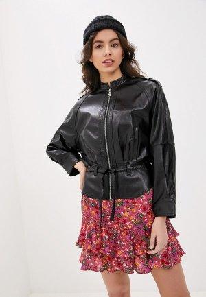 Куртка кожаная Twinset Milano. Цвет: черный