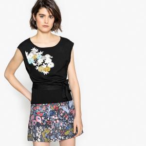 Пуловер с вырезом-лодочка и вышивкой на груди LA REDOUTE COLLECTIONS. Цвет: черный с вышивкой