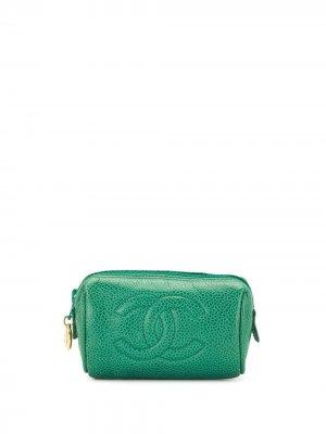 Клатч с логотипом CC Chanel Pre-Owned. Цвет: зеленый