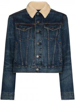 Джинсовая куртка с воротником из овчины Polo Ralph Lauren. Цвет: синий