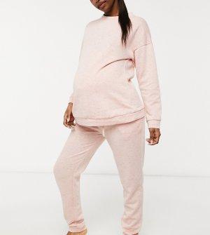 Розовый комплект из базового свитшота и джоггеров ASOS DESIGN Maternity-Розовый цвет Maternity