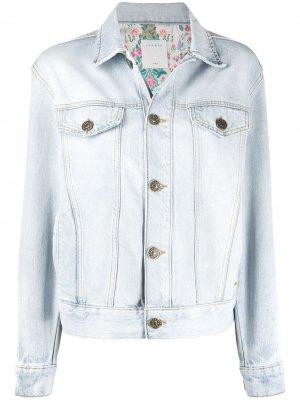 Однобортная джинсовая куртка Sandro Paris. Цвет: синий