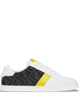Кроссовки с логотипом FF Fendi. Цвет: белый