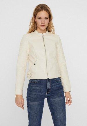 Куртка кожаная Vero Moda. Цвет: белый