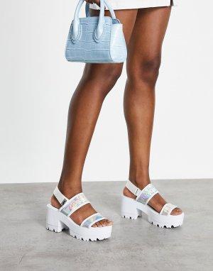Белые босоножки на каблуке с радужным логотипом -Белый Tommy Jeans