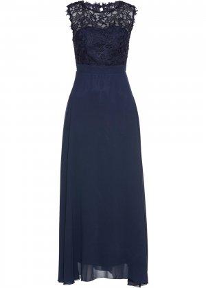 Вечернее платье макси Premium с кружевом bonprix. Цвет: синий