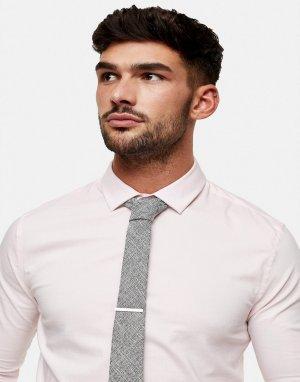 Серый фактурный галстук с зажимом Topman