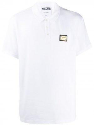 Рубашка-поло с нашивкой-логотипом Moschino. Цвет: белый