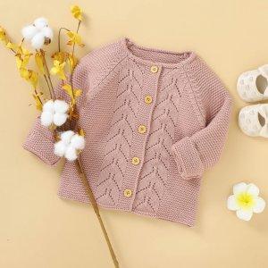 Для девочек Кардиган вязаный SHEIN. Цвет: пыльный розовый