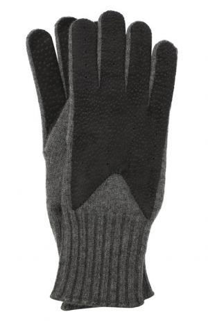 Кашемировые перчатки с отделкой из кожи Loro Piana. Цвет: синий
