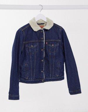 Синяя джинсовая куртка с искусственным мехом Levis original-Синий Levi's