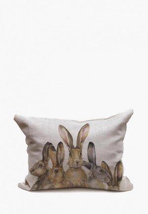Подушка декоративная Счастье в мелочах Зайцы выглядывают. Цвет: серый