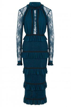 Платье из шелка цвета морской волны LAROOM. Цвет: синий