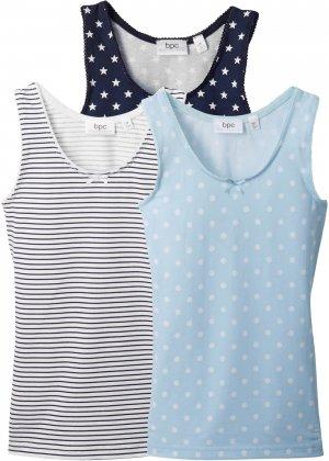 Майка для девочки (3 шт.) bonprix. Цвет: синий