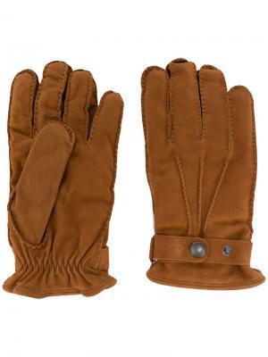 Перчатки на кнопках Lardini. Цвет: коричневый