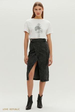 Эффектная джинсовая юбка-карандаш с запахом LOVE REPUBLIC
