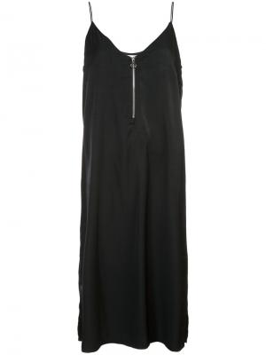 Платье на бретелях с молнией спереди Just Female. Цвет: чёрный