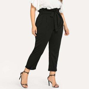 Большие брюки с поясом SHEIN. Цвет: чёрный