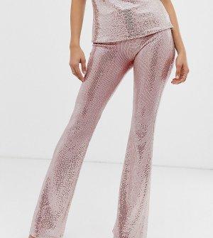 Розовые расклешенные брюки с пайетками -Серебряный John Zack Tall