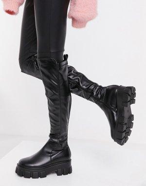 Черные ботфорты из искусственной кожи на массивной подошве -Черный Truffle Collection