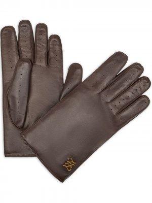 Перчатки с аппликацией в виде логотипа FF Fendi. Цвет: коричневый