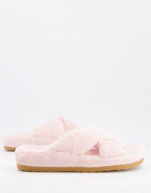 Бледно-розовые пушистые слиперы с перекрещивающимися ремешками Fuzed-Розовый цвет Steve Madden