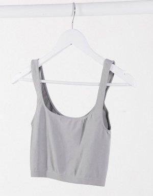 Free Peple scoop neck crop cami in grey-Серый People