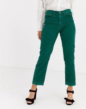 Вельветовые прямые брюки с завышенной талией -Зеленый We The Free by People