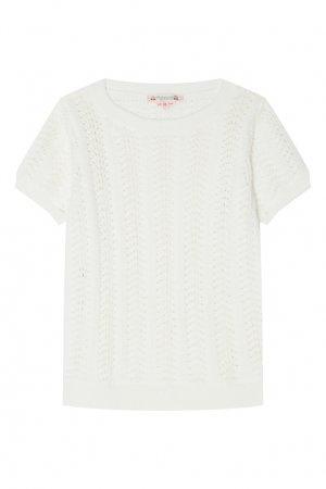 Вязаный пуловер цвета экрю Bonpoint. Цвет: бежевый