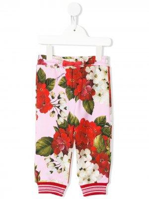 Джоггеры с цветочным принтом Dolce & Gabbana Kids. Цвет: розовый