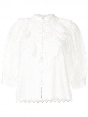 Блузка с вышивкой и оборками byTiMo. Цвет: белый