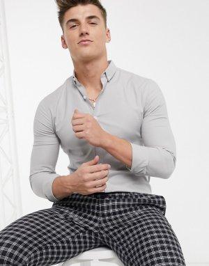 Серая оксфордская обтягивающая рубашка с длинными рукавами -Серый New Look