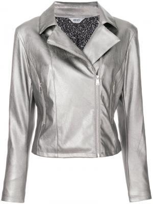 Байкерская куртка с эффектом металлик Liu Jo. Цвет: серый