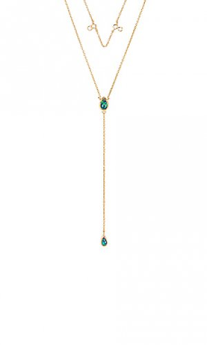 Ожерелье в форме лассо double tear Elizabeth Stone. Цвет: металлический золотой