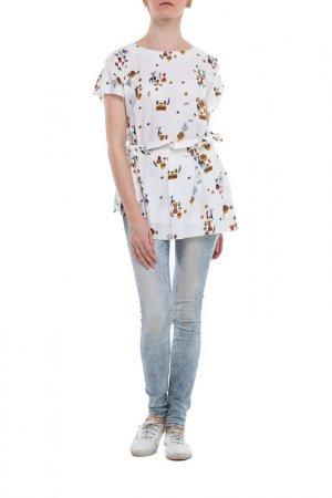 Блуза Adzhedo. Цвет: молочный, наскальные рисунки