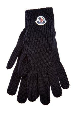 Перчатки из шерстяной пряжи с фетровым логотипом MONCLER. Цвет: черный